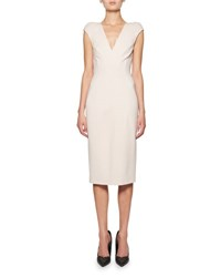Tom Ford Seamed Cap Sleeve V Neck Sheath Dress Light Pink Neutral Pattern