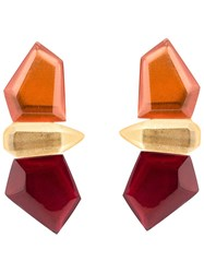 Monies Stacked Facet Clip On Earrings Yellow And Orange