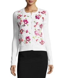 Oscar De La Renta Pixel Embroidered Lace Cardigan White Multi White Pattern