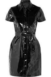 J Brand Lucille Belted Patent Leather Mini Shirt Dress Black