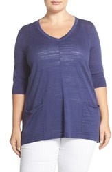 Plus Size Women's Sejour Patch Pocket V Neck Pullover
