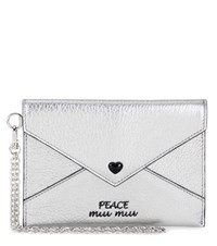 Miu Miu Embellished Leather Wallet Silver