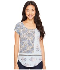 Lucky Brand Paisley Mixed Tee Celestial Blue Women's T Shirt