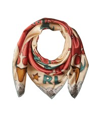 Polo Ralph Lauren Flame Silk Scarf Muted Red Green Scarves Multi