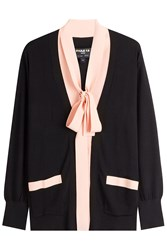 Paule Ka Oversize Cardigan With Bow At Front Black