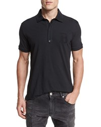 Balmain Short Sleeve Jersey Polo Shirt Black
