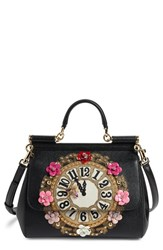 Dolce And Gabbana 'Small Miss Sicily Floral Clock' Calfskin Leather Satchel