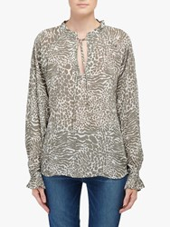 Lily And Lionel Florence Animal Print Top Khaki