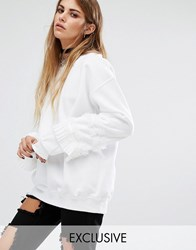 Reclaimed Vintage Sweat With Frill Arms White