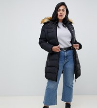 Lovedrobe Long Quilted Coat With Contrast Faux Fur Trim Black