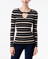 Inc International Concepts Keyhole Sweater Only At Macy's Black White Gold