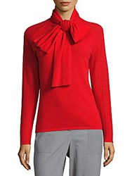Zac Posen Long Sleeve Cashmere Pullover Cavalier Red
