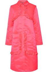 Paskal Ruffle Trimmed Satin Coat Bright Pink