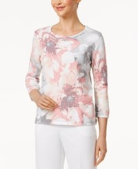 Alfred Dunner Petite Embellished Floral Print Sweater Multi