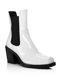 Creatures Of Comfort Crawford Square Toe Patent Leather Mid Heel Booties White
