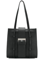 Sergio Rossi Logo Plaque Tote Bag Black
