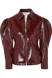 Pushbutton Glossed Faux Leather Jacket Brown