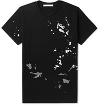 Helmut Lang Printed Logo Embroidered Cotton Jersey T Shirt Black