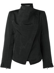 Ann Demeulemeester High Neck Biker Jacket Women Cotton Linen Flax Viscose 38 Black