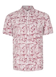 Topman Grey White Waves Print Short Sleeve Casual Shirt
