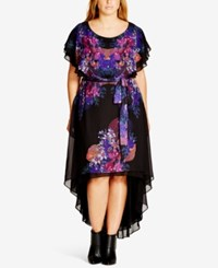 City Chic Trendy Plus Size Printed High Low Shift Dress Black