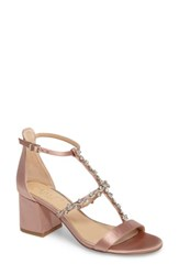 Jewel Badgley Mischka Women's Alamea Block Heel Sandal Dark Blush Satin