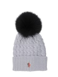 Moncler Wool Cable Knit Hat W Fox Fur Pom Pom