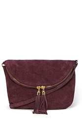 Warehouse Suede Zip Round Cross Body Bag Dark Red