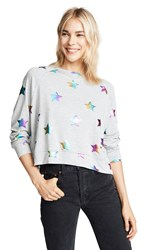 Terez Foil Printed Sweatshirt Rainbow Star Foil Grey French