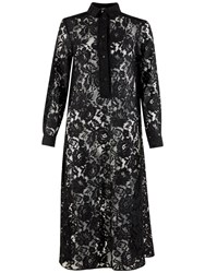 Closet Long Lace Shirt Dress Black