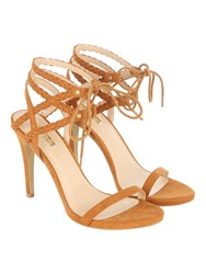 Jane Norman Double Plaited Ankle Strap Heel Tan