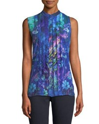 T Tahari Floral Pleated Front Blouse Blue