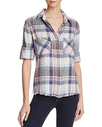 Bella Dahl Fray Hem Split Back Plaid Shirt Lavender Cloud