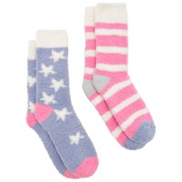 Joules Fab Fluffy Star Stripe Ankle Socks Pack Of 2 Blue Pink