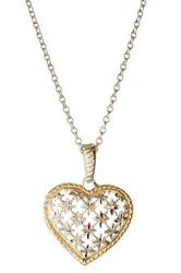 Candela Two Tone Diamond Cut Heart Necklace Metallic