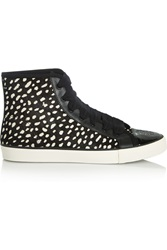Tory Burch Marin Cheetah Print Calf Hair High Top Sneakers