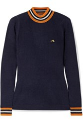 Bella Freud Race Track Striped Ribbed Wool Sweater Navy