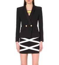 Balmain Double Breasted Stretch Cotton Blazer Black