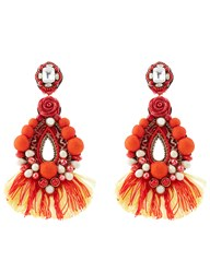 Ranjana Khan Red Drop Beaded Clip On Earrings Orange