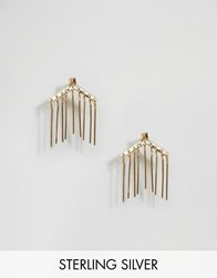 Asos Gold Plated Sterling Sliver Bar Chain Drop Earrings Gold Plated