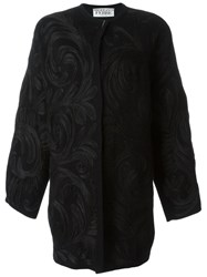 Gianfranco Ferre Vintage Swirl Applique Coat Black