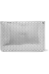 Christian Louboutin Loubiclutch Studded Mirrored Leather Clutch Silver