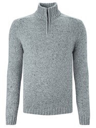 John Lewis Frosty Zip Neck Jumper Light Grey