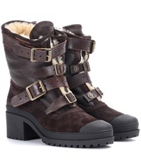 Burberry Dukesbridge Fur Lined Suede Ankle Boots Brown