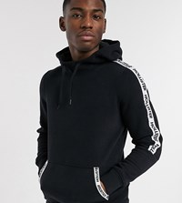 Hollister Regular Fit Hoodie In Black With Chest Logo And Sleeve Taping Exclusive To Asos