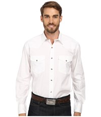 Roper Solid Poplin L S Shirt White Men's Long Sleeve Button Up