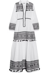 Dodo Bar Or Embellished Cotton Gauze Maxi Dress White