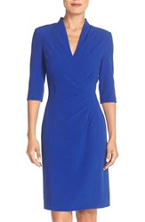 Tahari Women's Pleated Crepe Sheath Dress