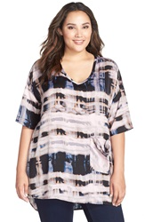 Melissa Mccarthy Seven7 Print One Pocket Tee Plus Size Teal Painterly Plaid