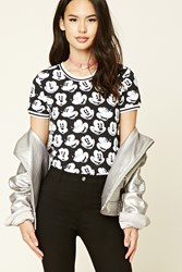 Forever 21 Mickey Mouse Print Bodysuit Black White